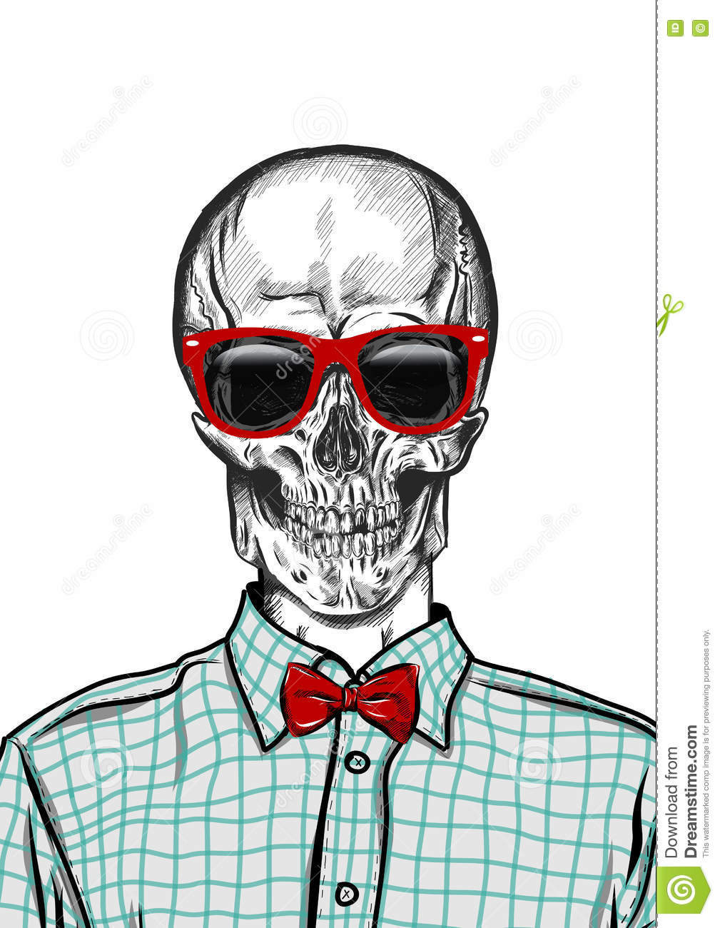 Hand Drawn Anatomy Skull With Different Tones And Sunglasses. Vector ...