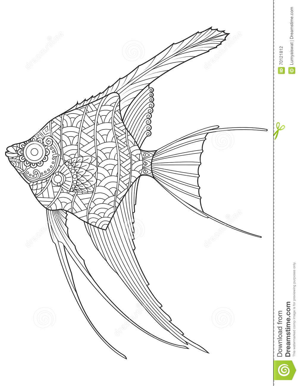 Hand Drawn Angel Fish Coloring Page Stock Vector ...