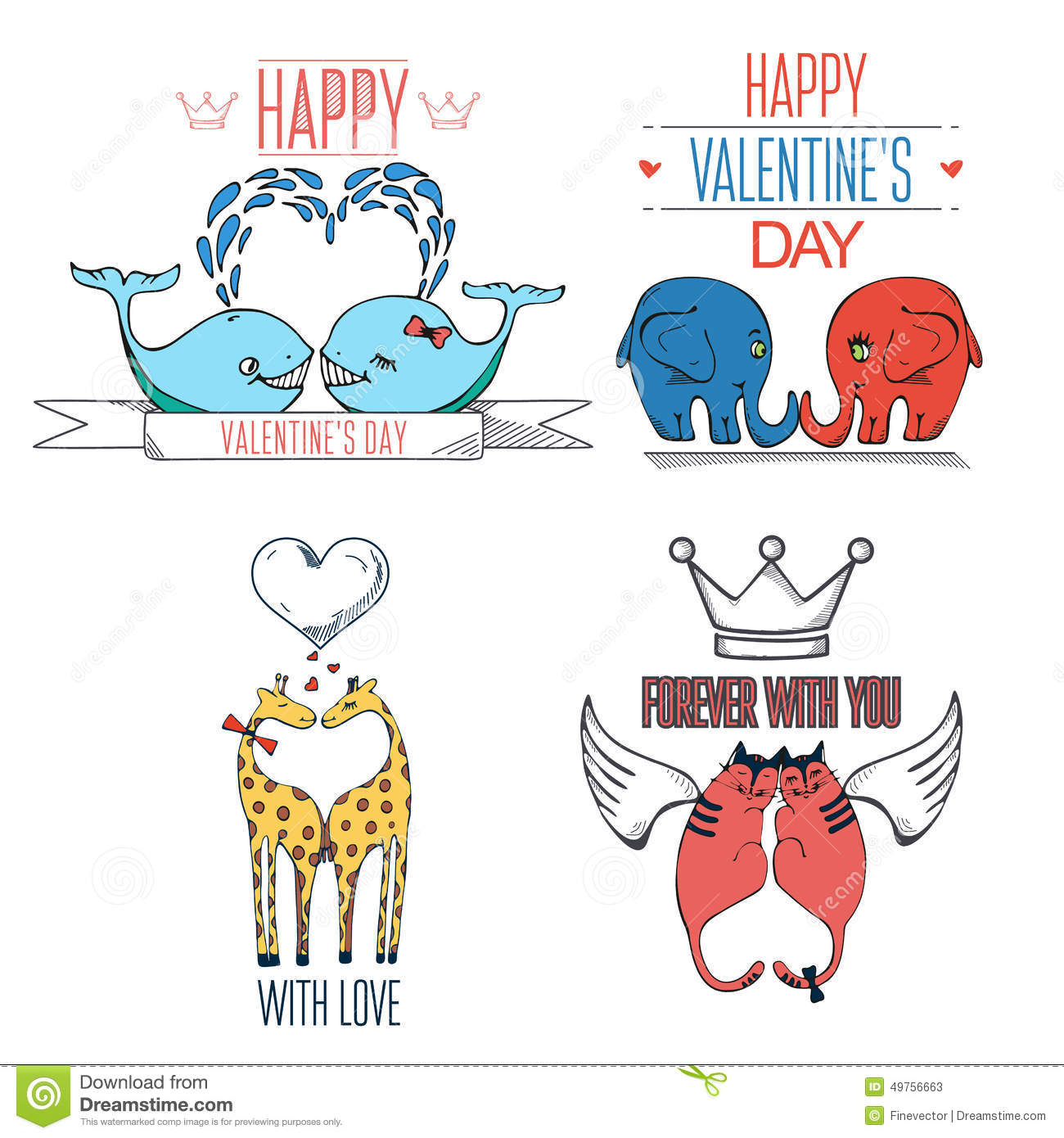 Hand Drawn Animals In Love Valentines Day Card With Typography – Animal Valentine Cards