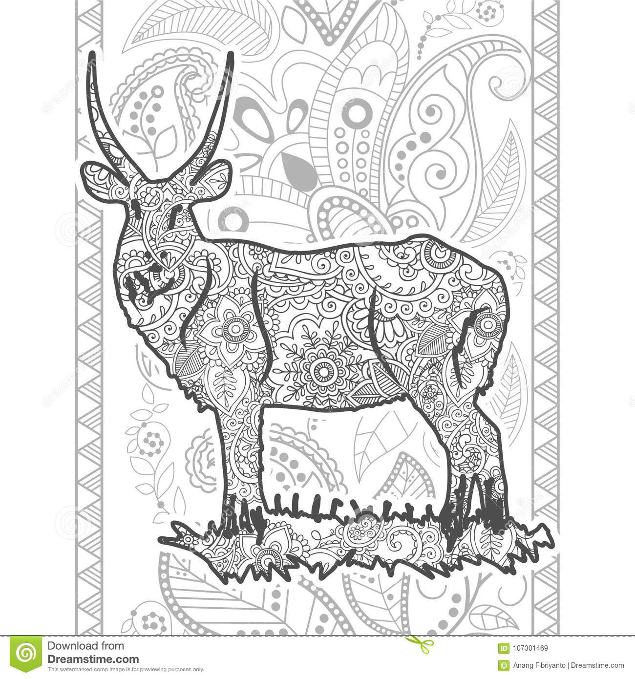 Hand Drawn Doodle Animal Paisley Adult Stress Release