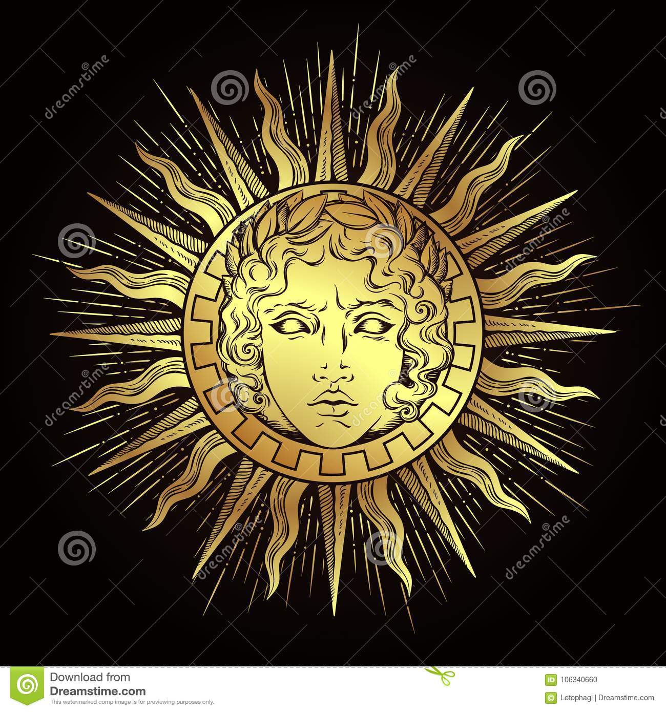 Hand drawn antique style sun with face of the greek and roman god hand drawn antique style sun with face of the greek and roman god apollo flash tattoo or print design vector illustration medieval logo buycottarizona