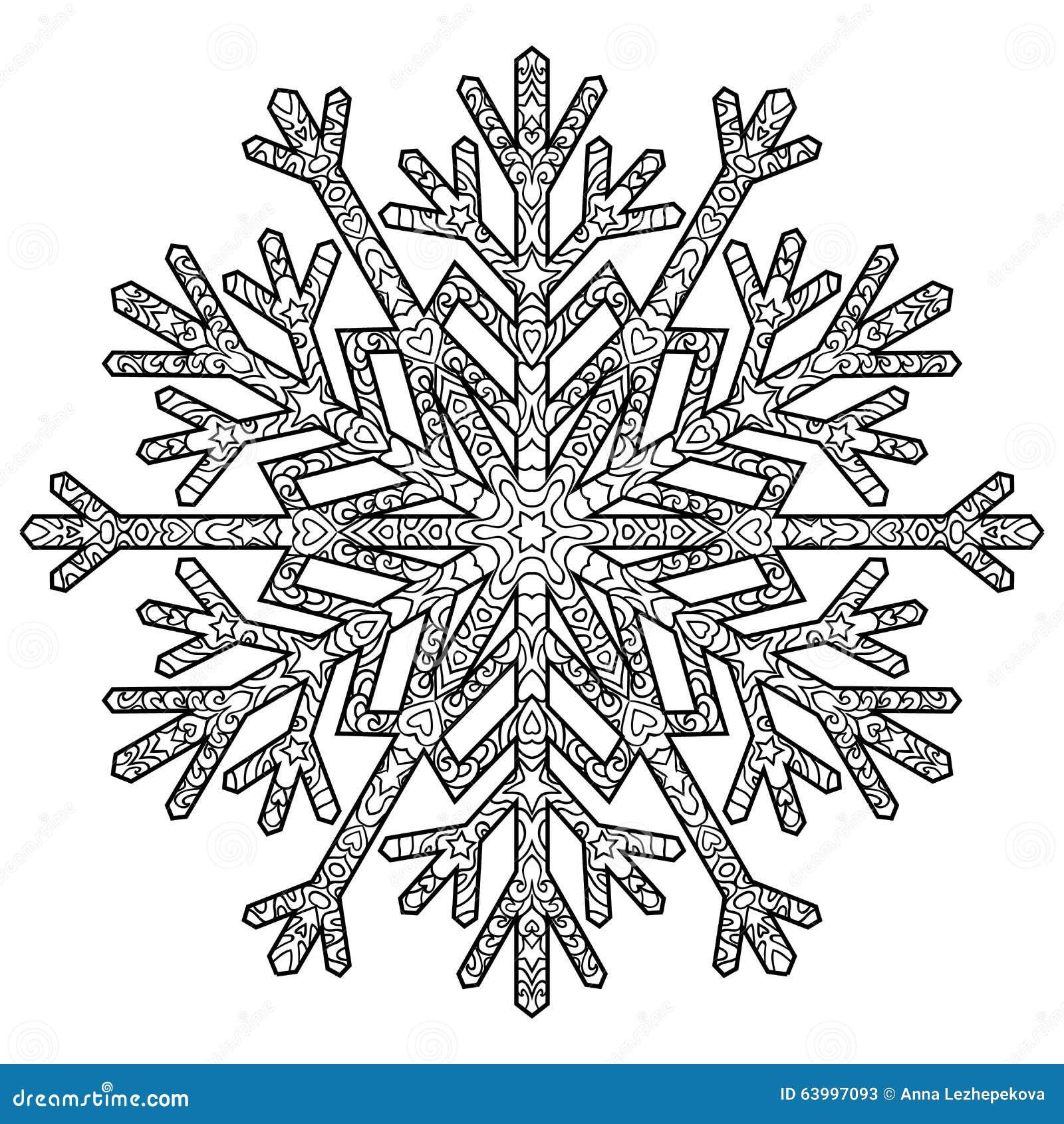 Hand Drawn Antistress Snowflake Stock Vector
