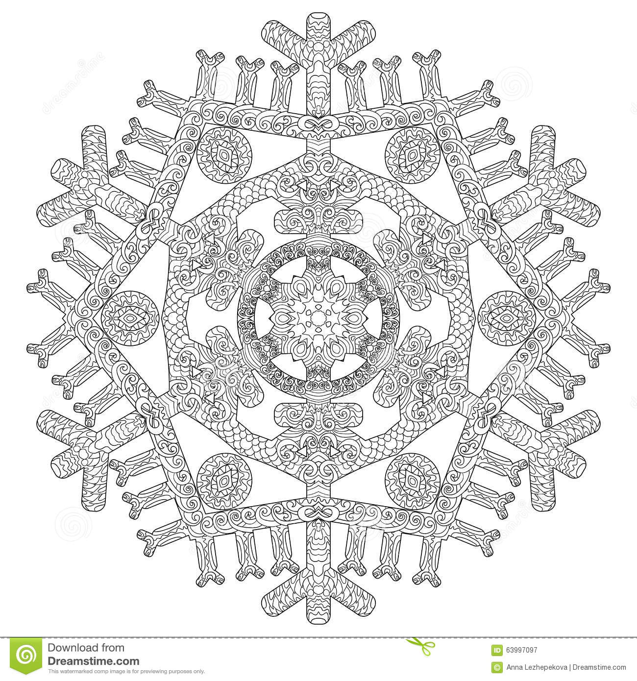 hand drawn antistress snowflake stock vector image 63997097