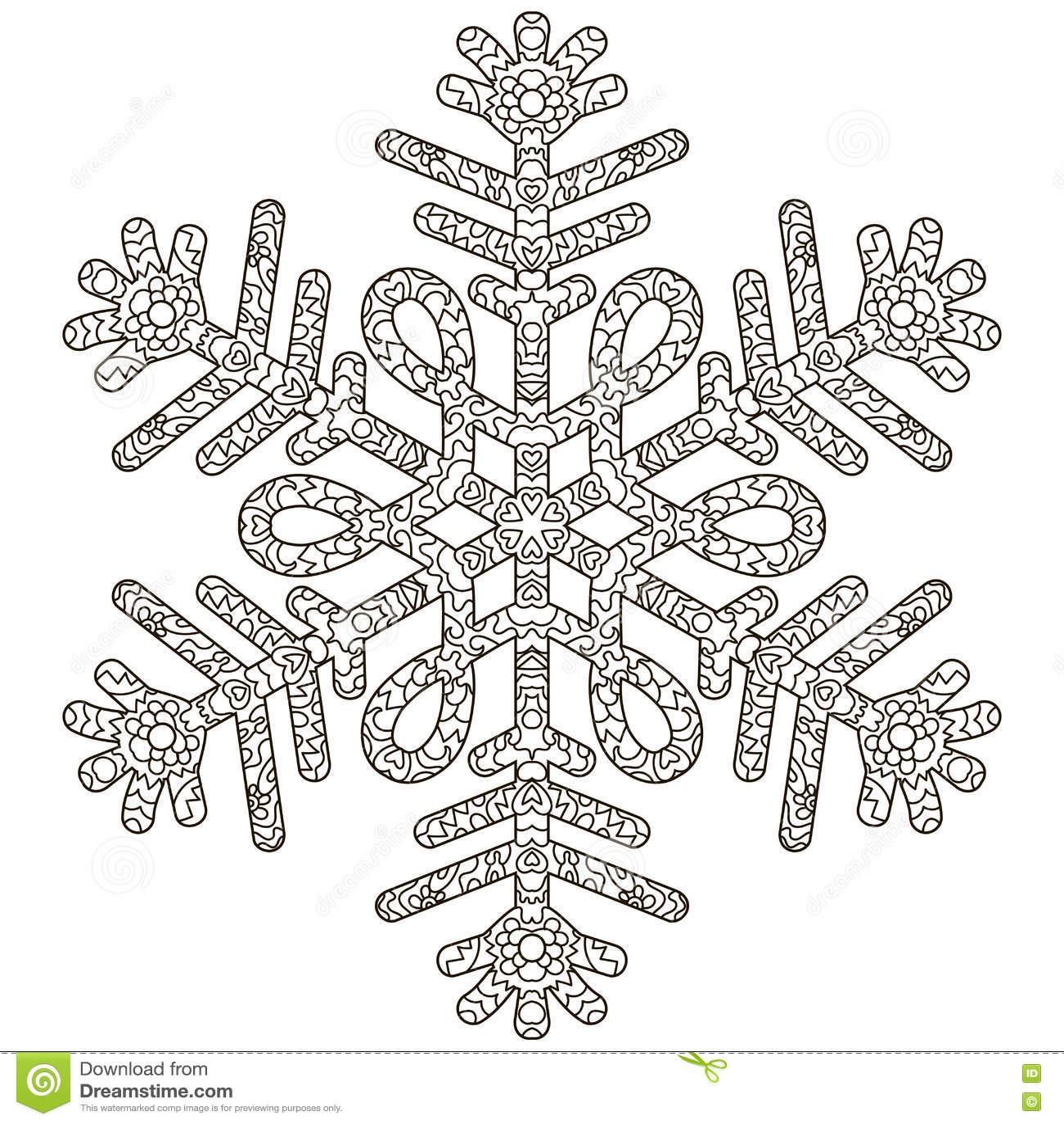 Hand Drawn Antistress Snowflake Stock Vector Illustration Of