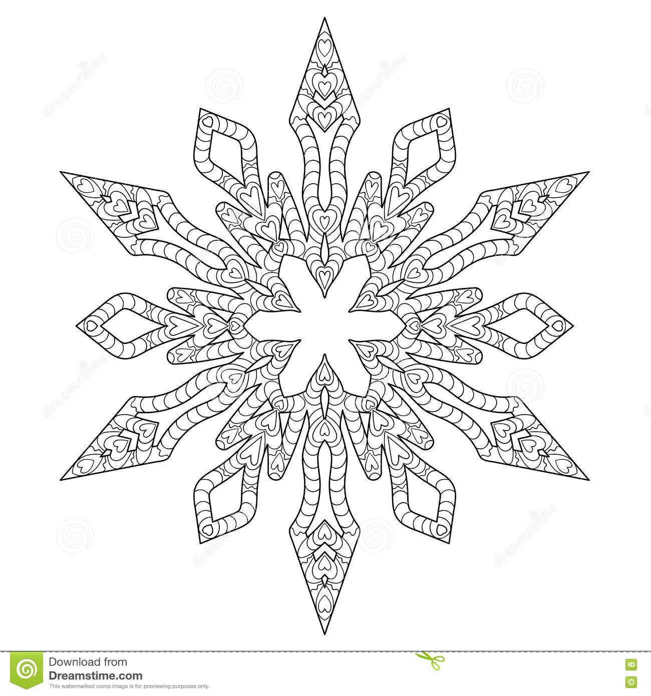 Hand Drawn Antistress Snowflake Stock Vector