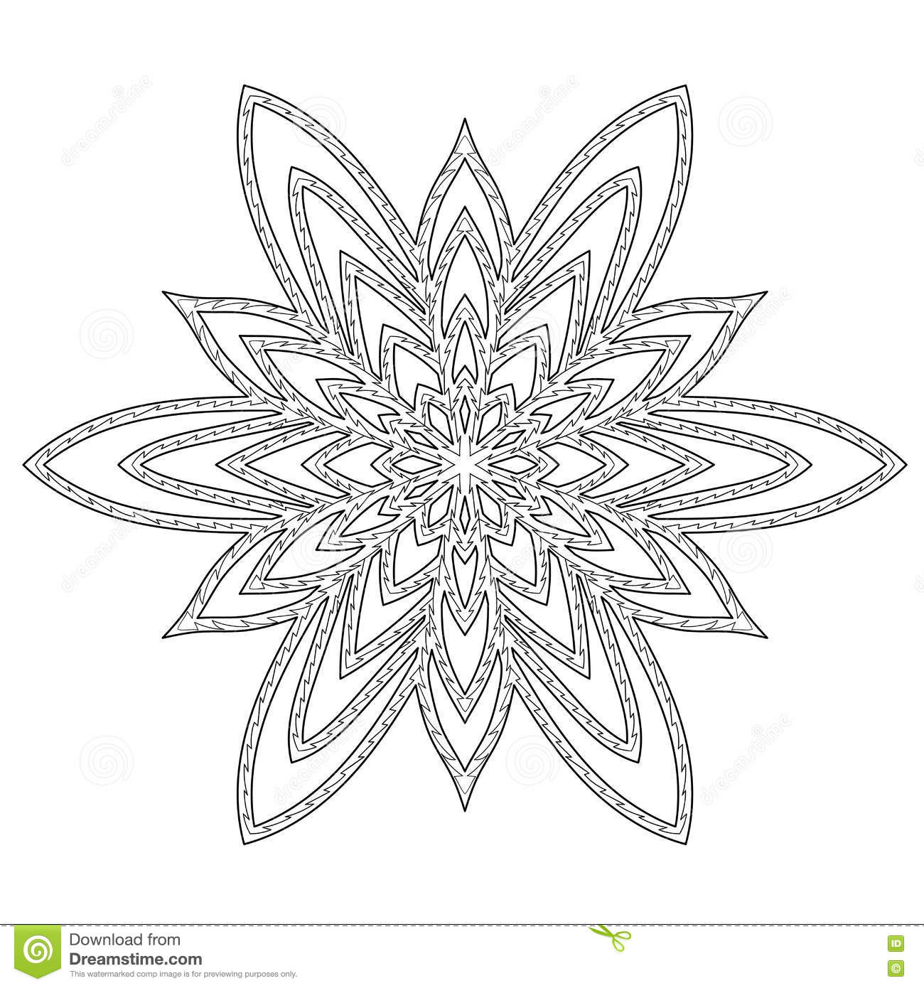 Hand Drawn Antistress Snowflake. Stock Vector - Illustration ...