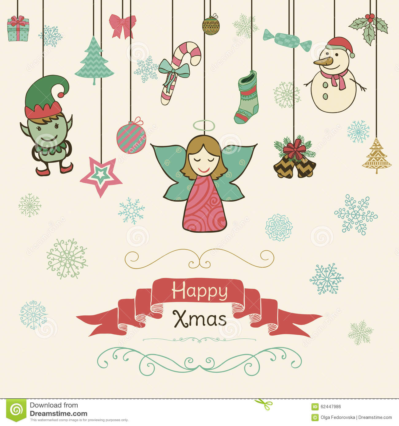 Hand Drawn Artistic Christmas Doodle Invitation Card. Stock Vector ...