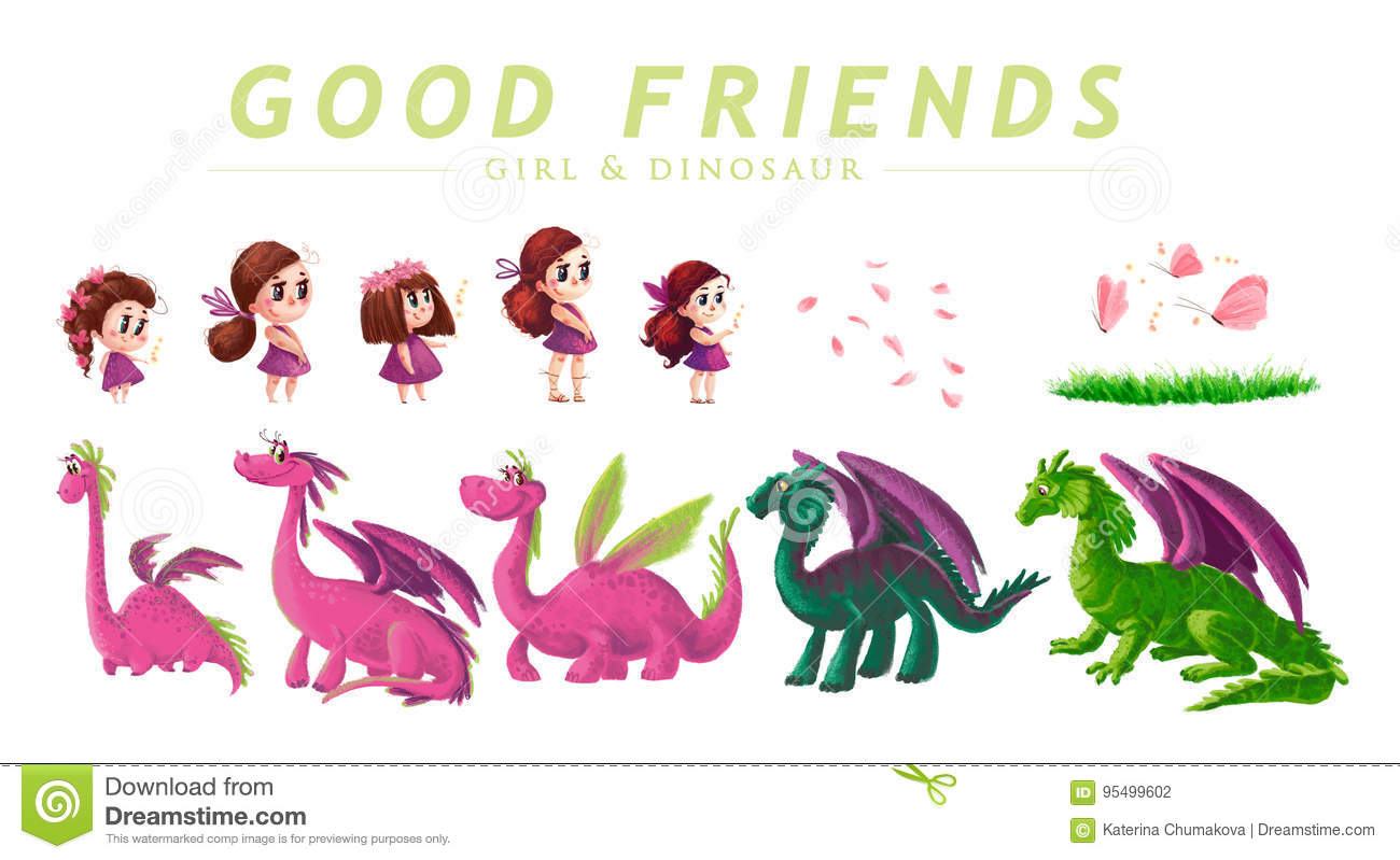 Hand drawn artistic collection of cute little girl and friendly dinosaur