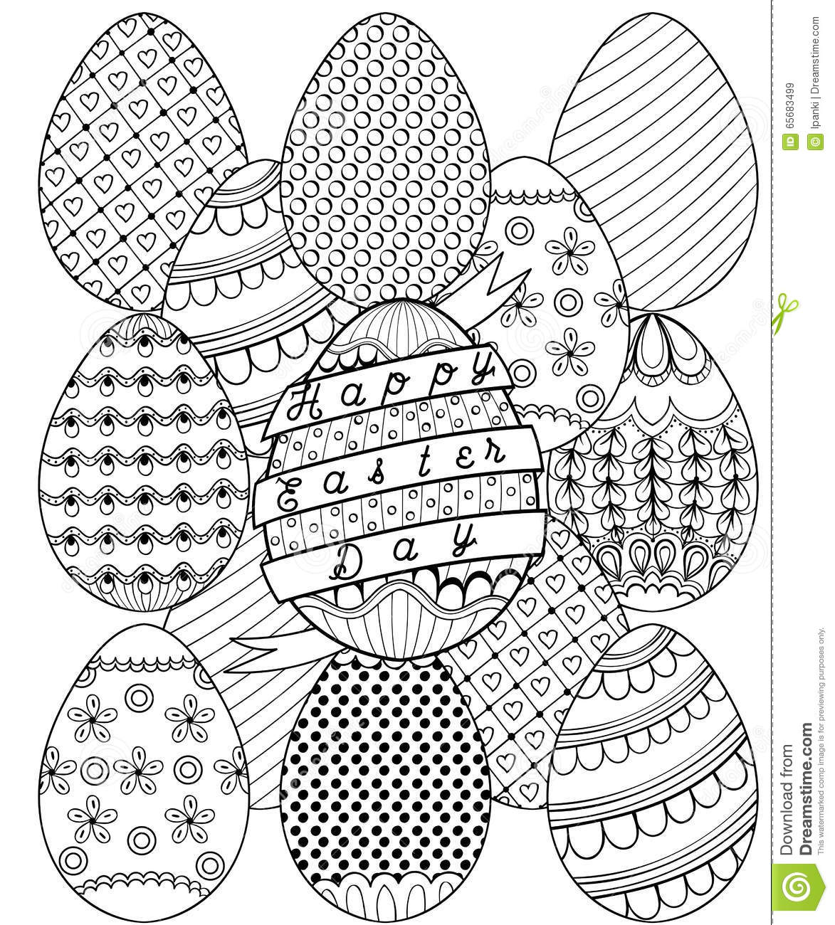 hand drawn artistic easter eggs pattern for coloring page