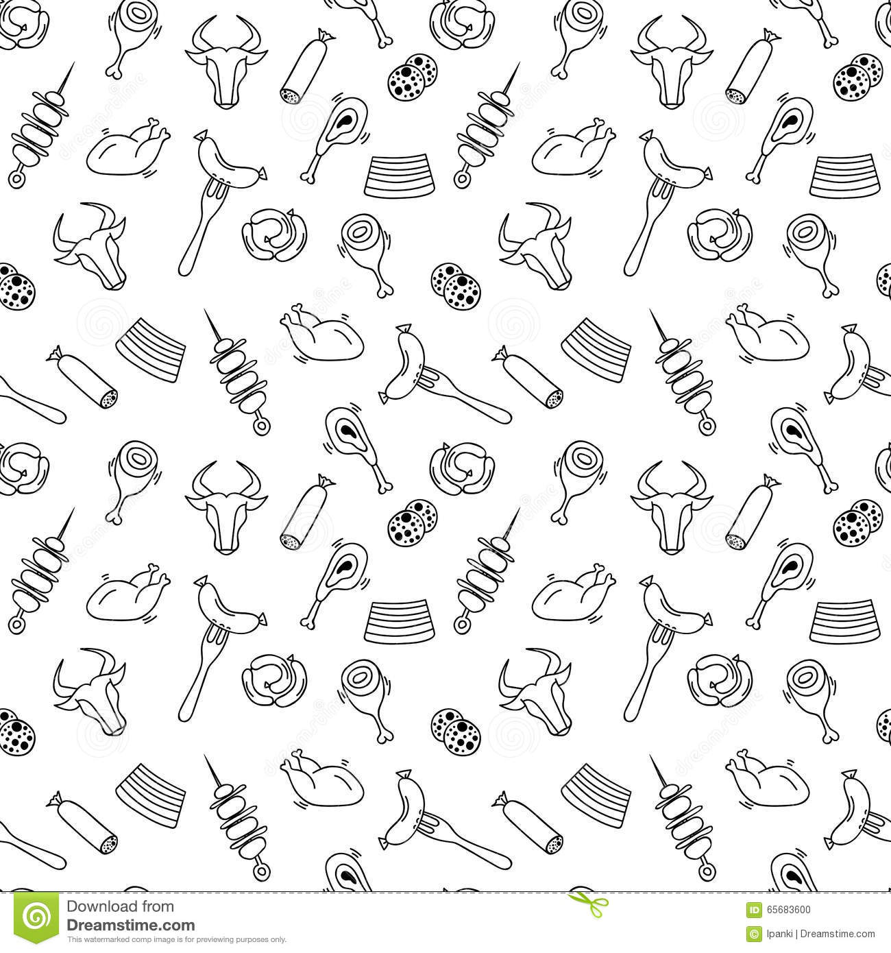 Hand drawn artistic meat seamless pattern for adult coloring pages in doodle style with sausages stakes shish kebabs chickens ethnic ornamental vector