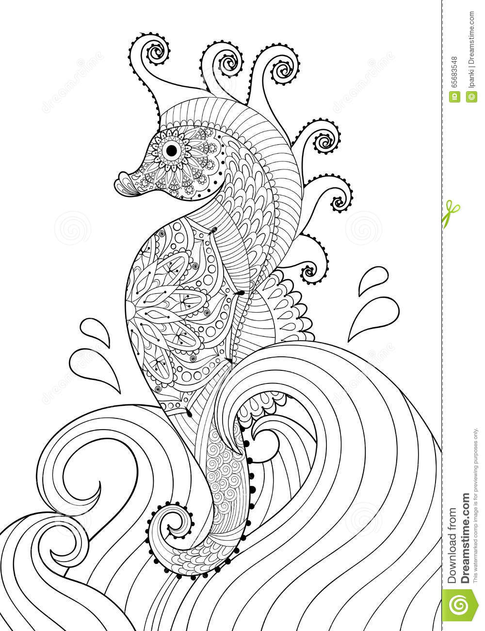 Hand Drawn Artistic Sea Horse In Waves For Adult Coloring