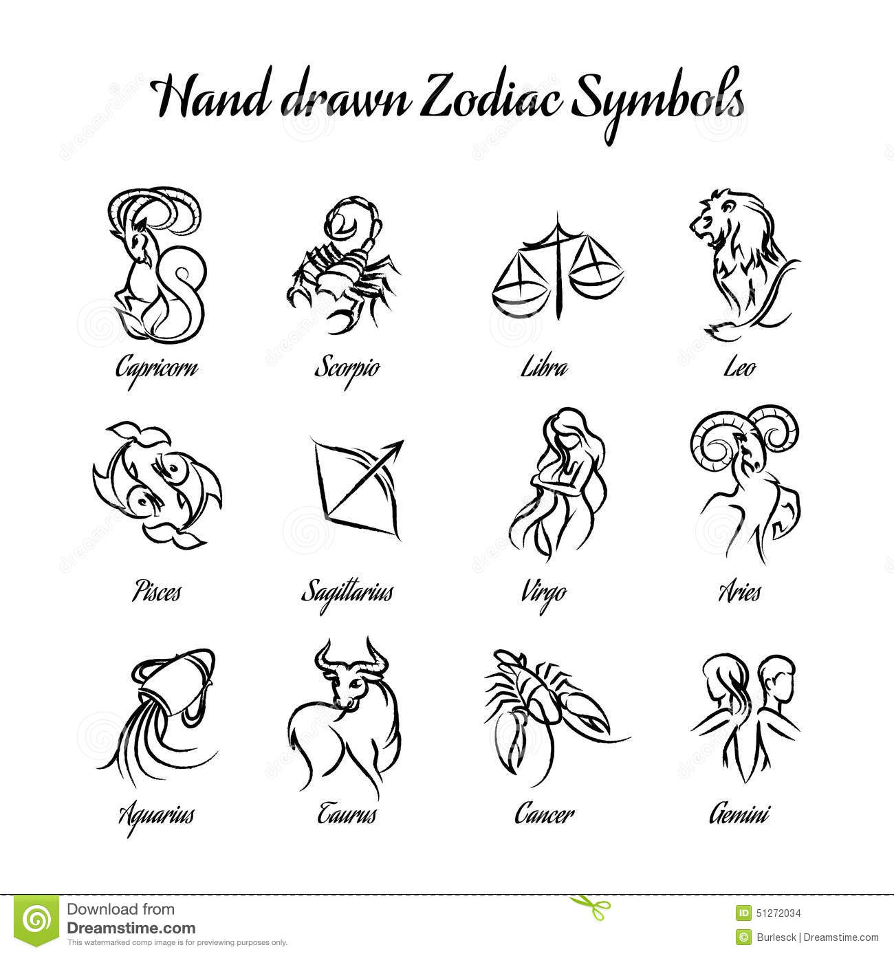 65 Leo Zodiac Sign Tattoos Collection: Hand Drawn Astrological Zodiac Symbols Or Stock Vector