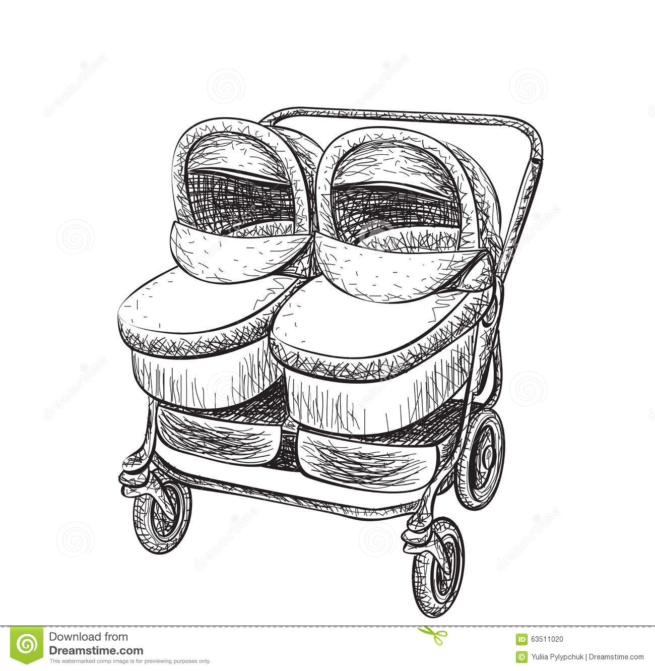 Hand Drawn Baby Carriage Sketch Stock Vector