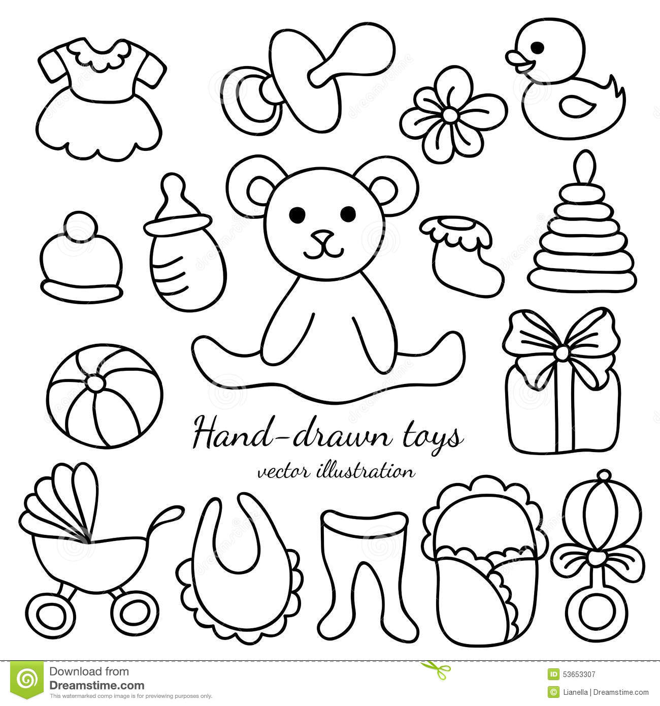 Baby Toys Drawing : Hand drawn baby goods and toys set stock vector image