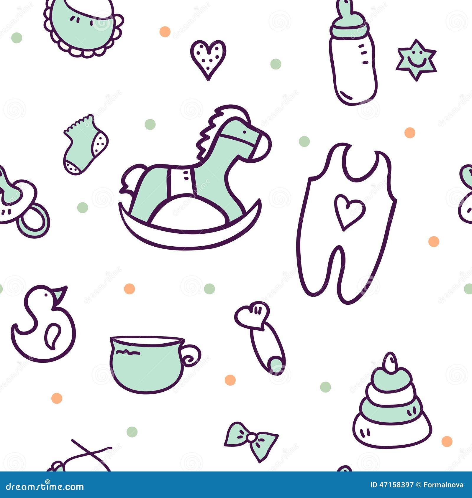 Hand Drawn Baby Shower Design Elements Illustration 47158397 Megapixl