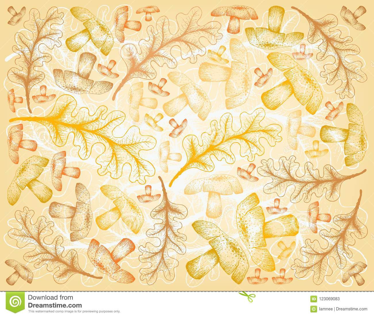 Hand Drawn Background Of Autumn Oak Leaves And Mushrooms Stock