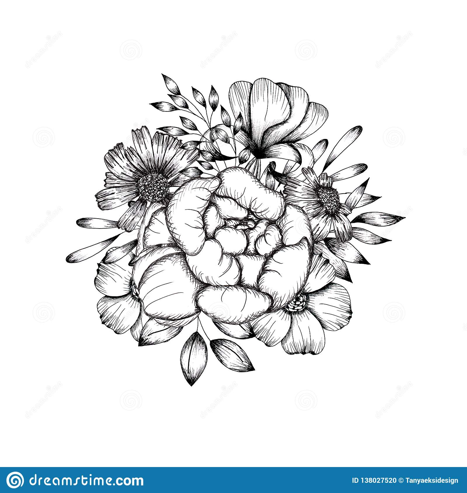 hand drawn black and white flower arrangement background for