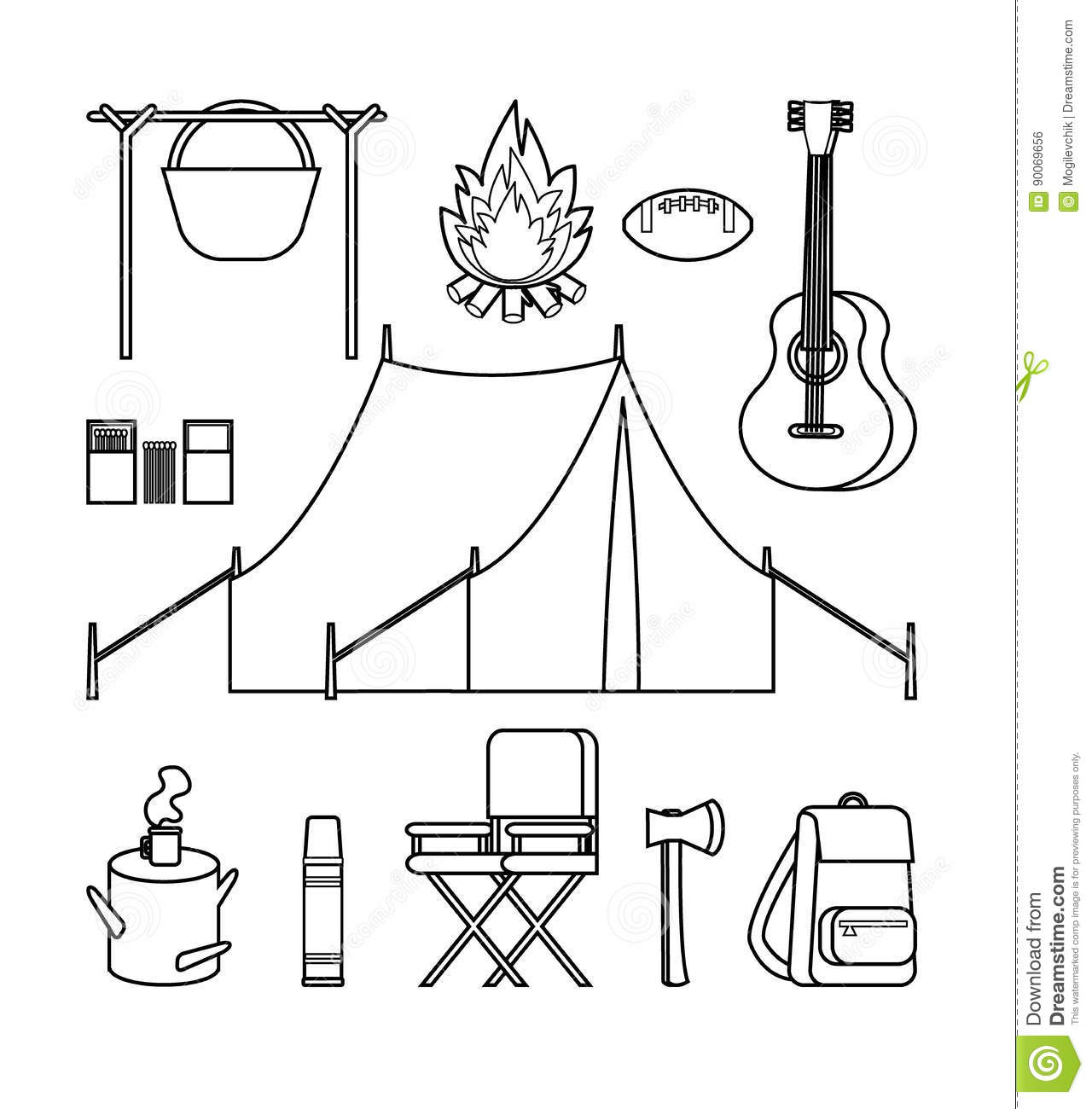 4ea6ce3f0f Hand drawn backpacking icons set with camping and hiking elements in  monochrome style isolated vector illustration
