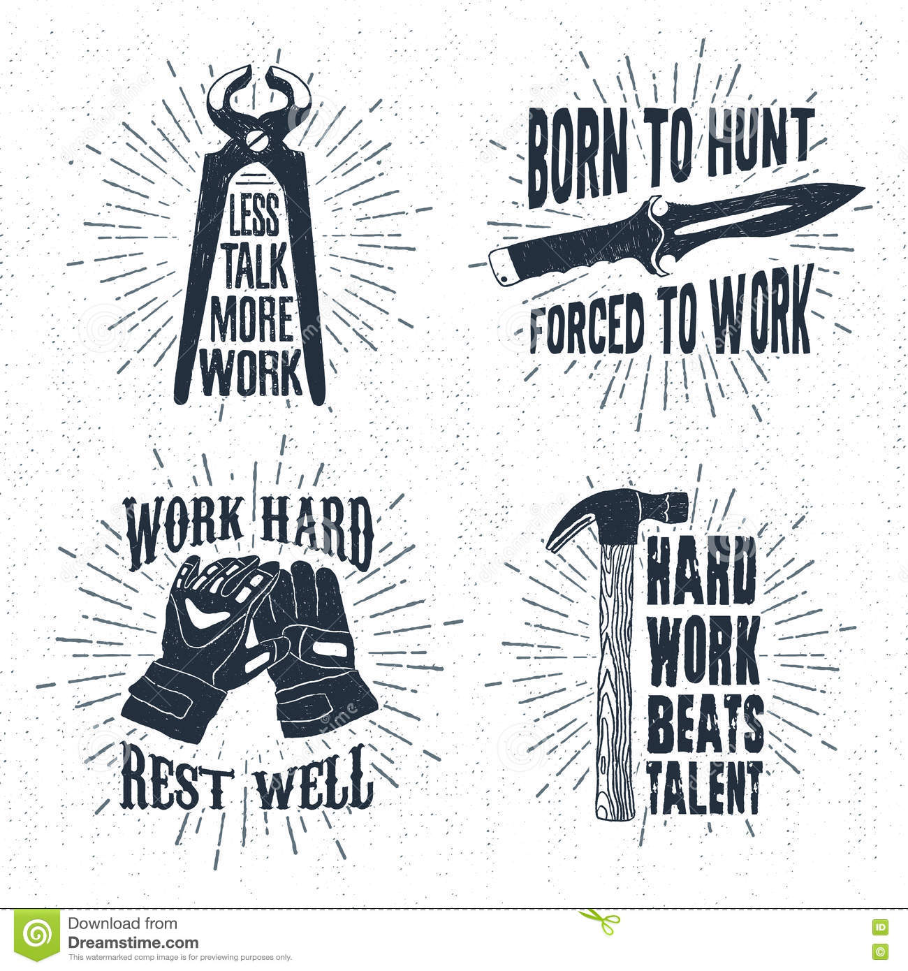 Black hammer gloves - Hand Drawn Badges Set With Pincers Hunting Knife Working Gloves And Hammer Illustrations