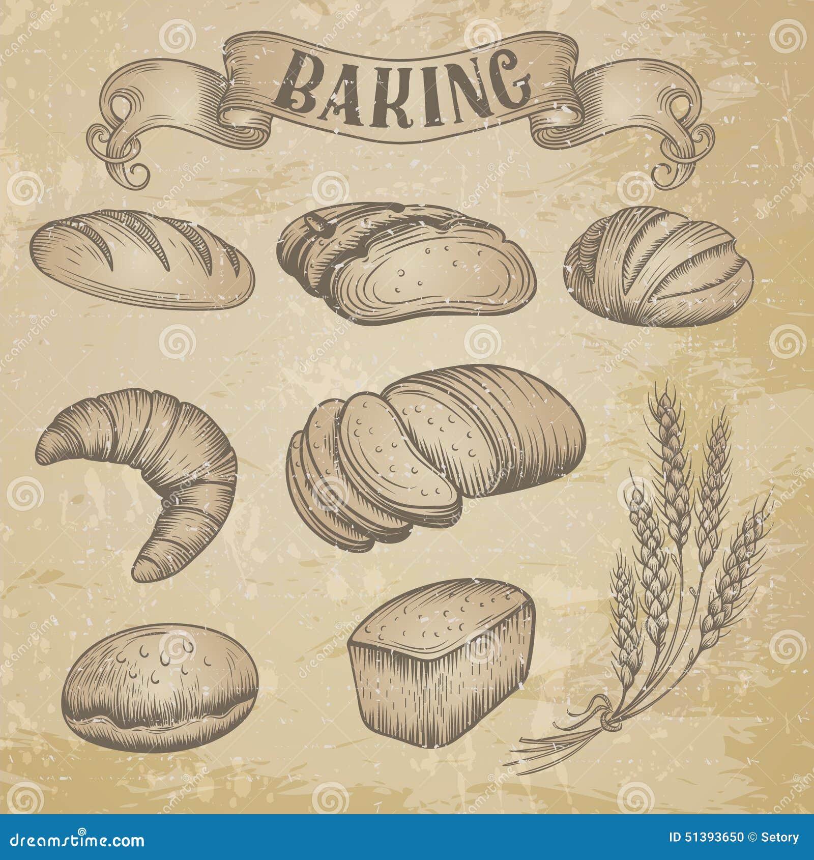 Hand drawn bakery icons set