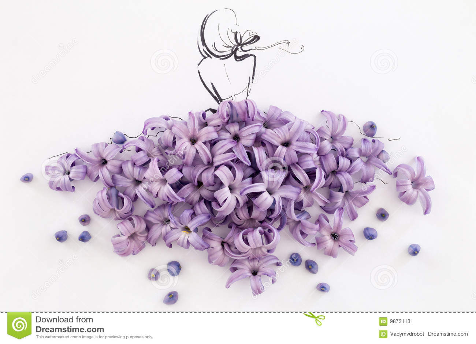 Hand Drawn Ballerina Wearing Dress Made Of Natural Flowers ...