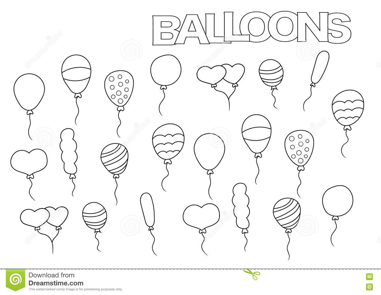 Hand Drawn Balloons Set. Coloring Book Page Template