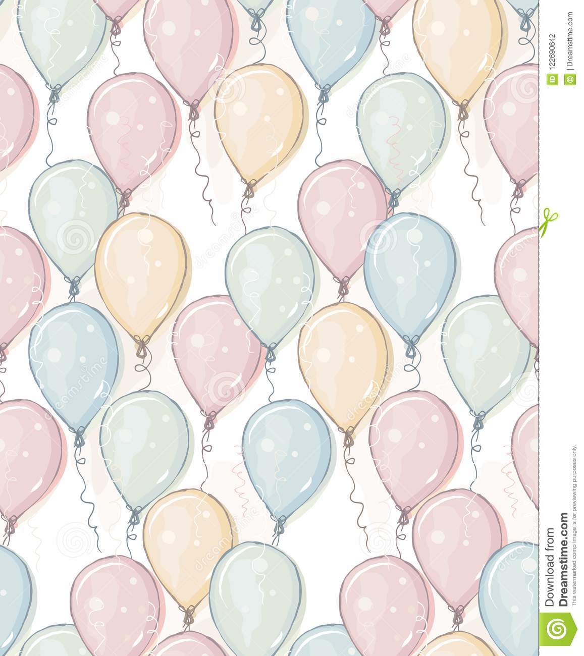 Hand Drawn Balloons Vector Pattern. Pastel Colors. Watercolor Style Design. Flying Balloons. Pink, Blue, Yellow and Gree Mint Ball