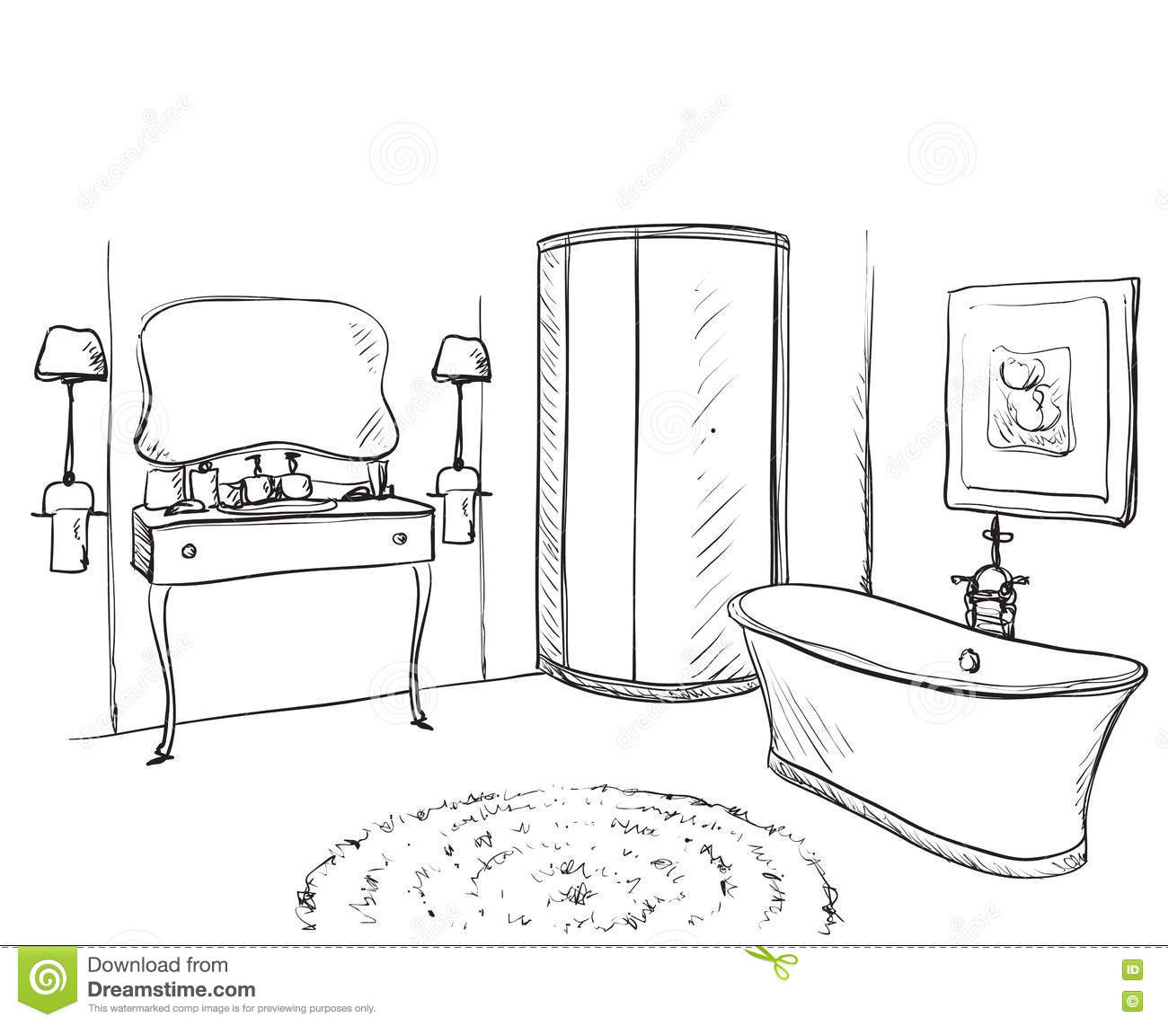 Hand Drawn Bathroom. Furniture Sketch. Stock Vector