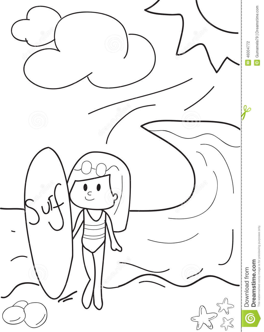surfing girl coloring pages - photo#14
