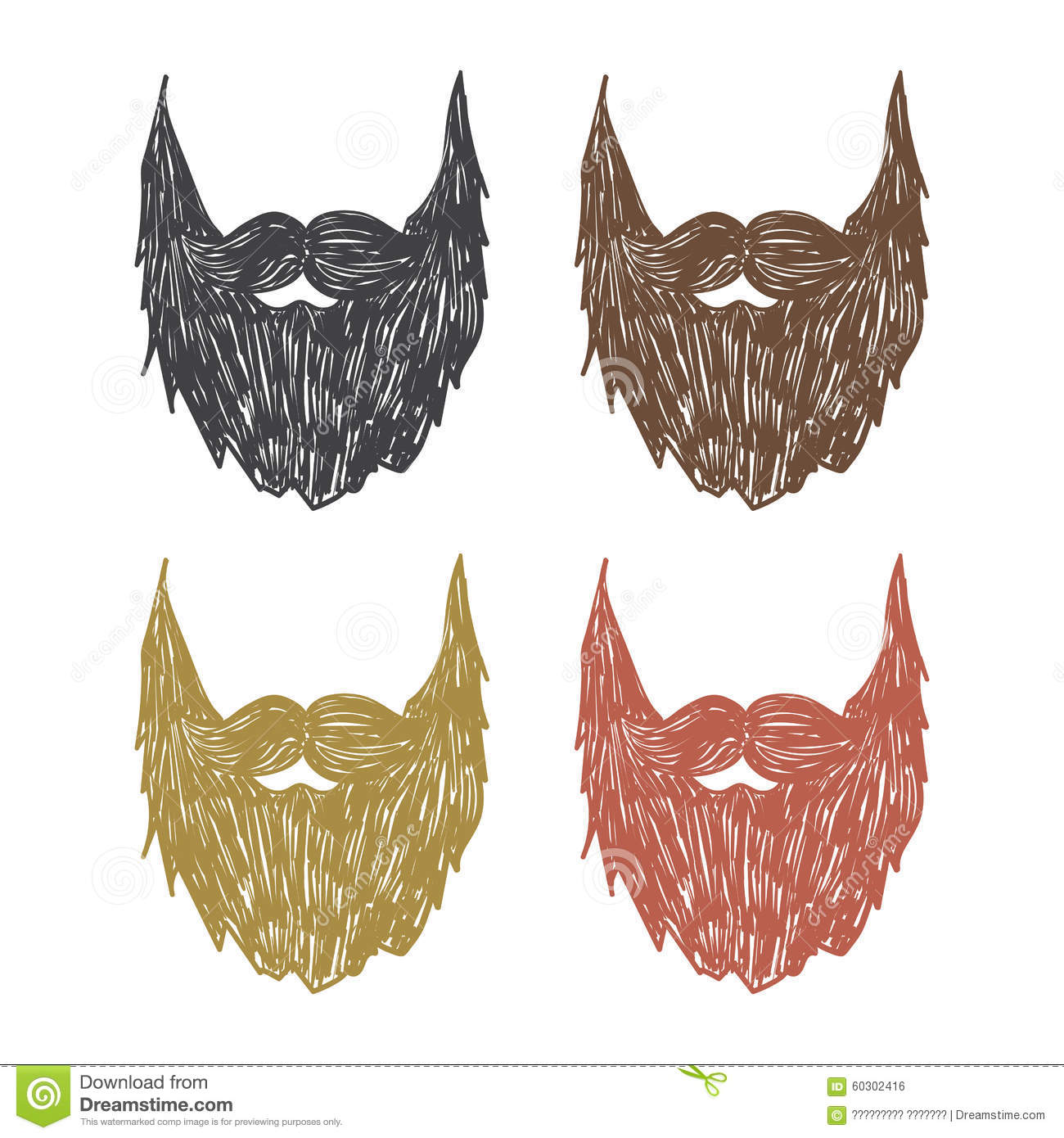Hand Drawn Beard Stock Vector Image 60302416