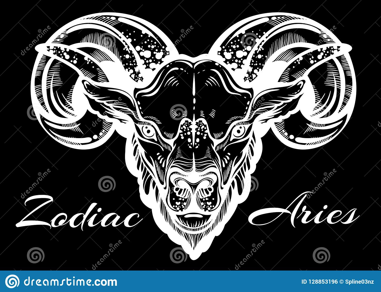eaa7e325b9f07 Hand-drawn beautiful artwork of a ram. High-detailed linear style art. Aries,  zodiac sign. Trendy vector illustration isolated. Tattoo design, astrology  ...