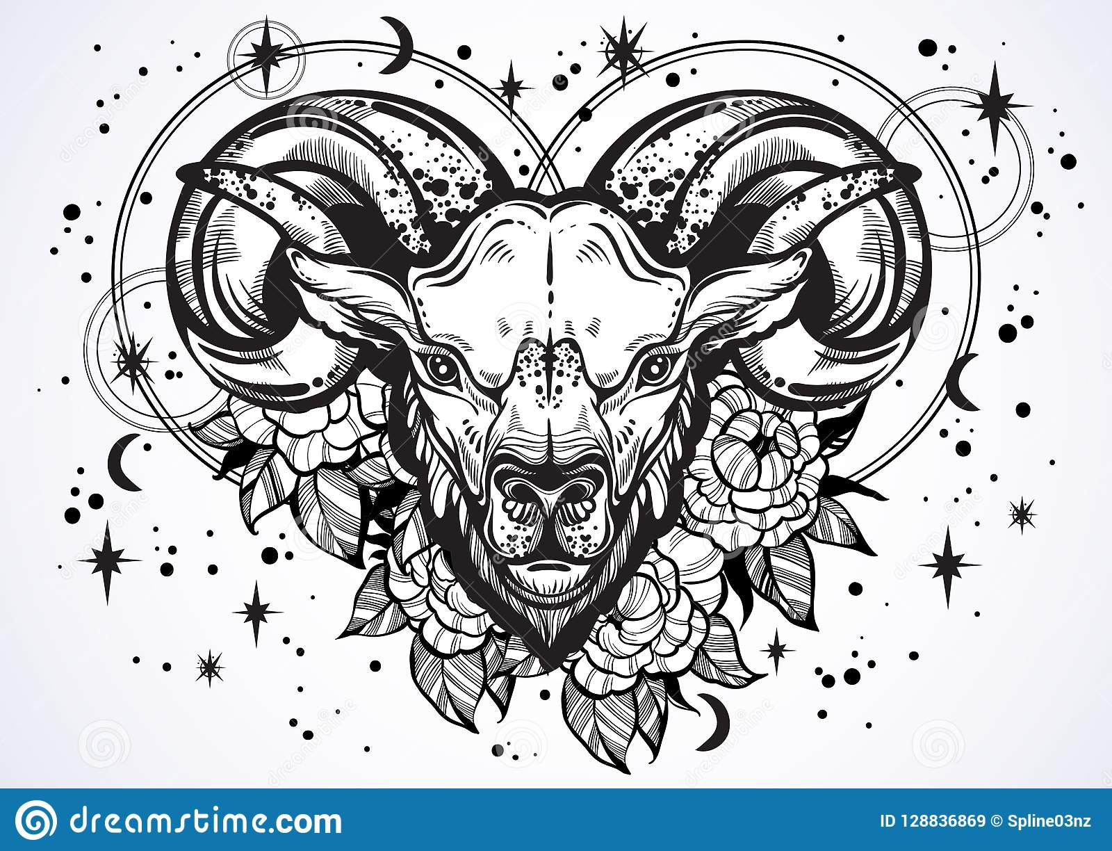 ecb69bf12 Hand-drawn beautiful artwork of a ram with peony flowers and astrology  signs around. Aries, zodiac sign. Trendy vector art.