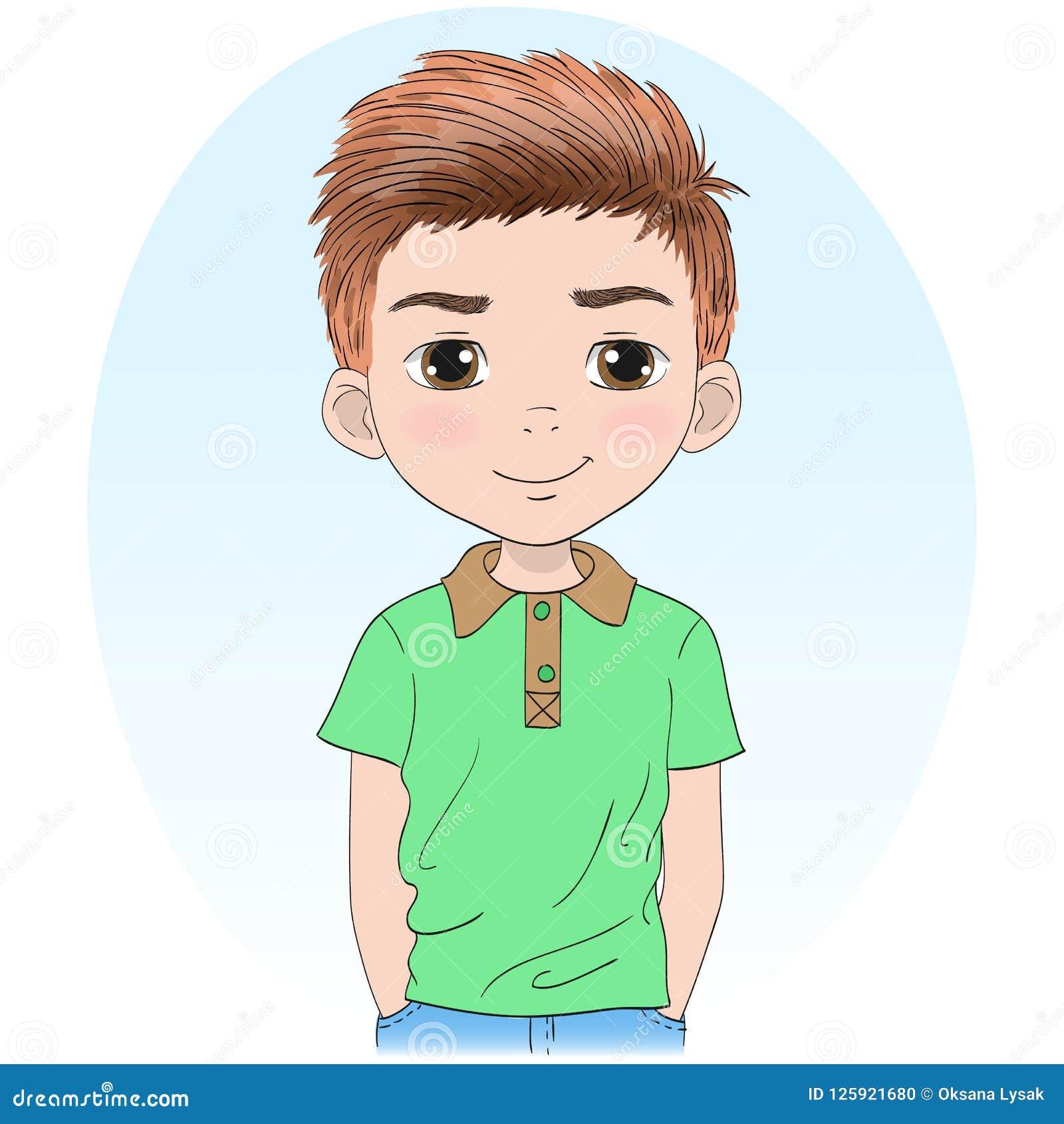Hand Drawn Beautiful, Cute, Little Cartoon Boy. Stock ...