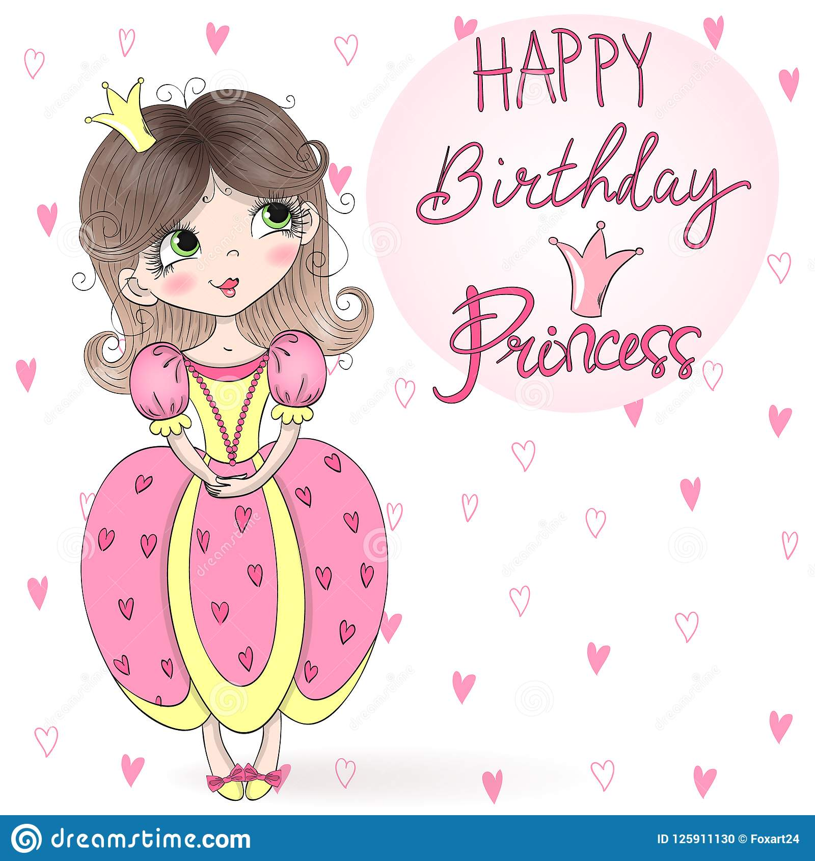 Hand Drawn Beautiful, Cute, Little Girl Princess With The