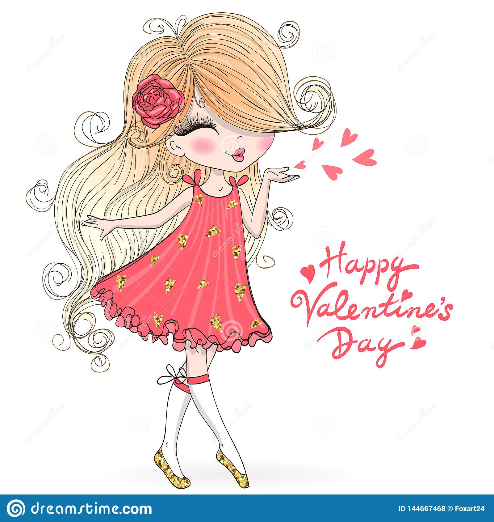 Hand Drawn Beautiful Cute Valentine Girl In Love Stock