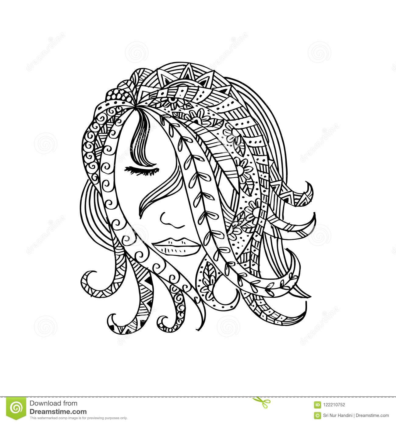 Hand drawn beautiful girl with abstract hair stock