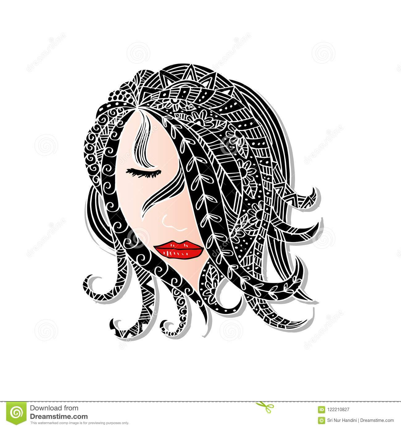 Hand drawn beautiful girl with abstract hair stock vector