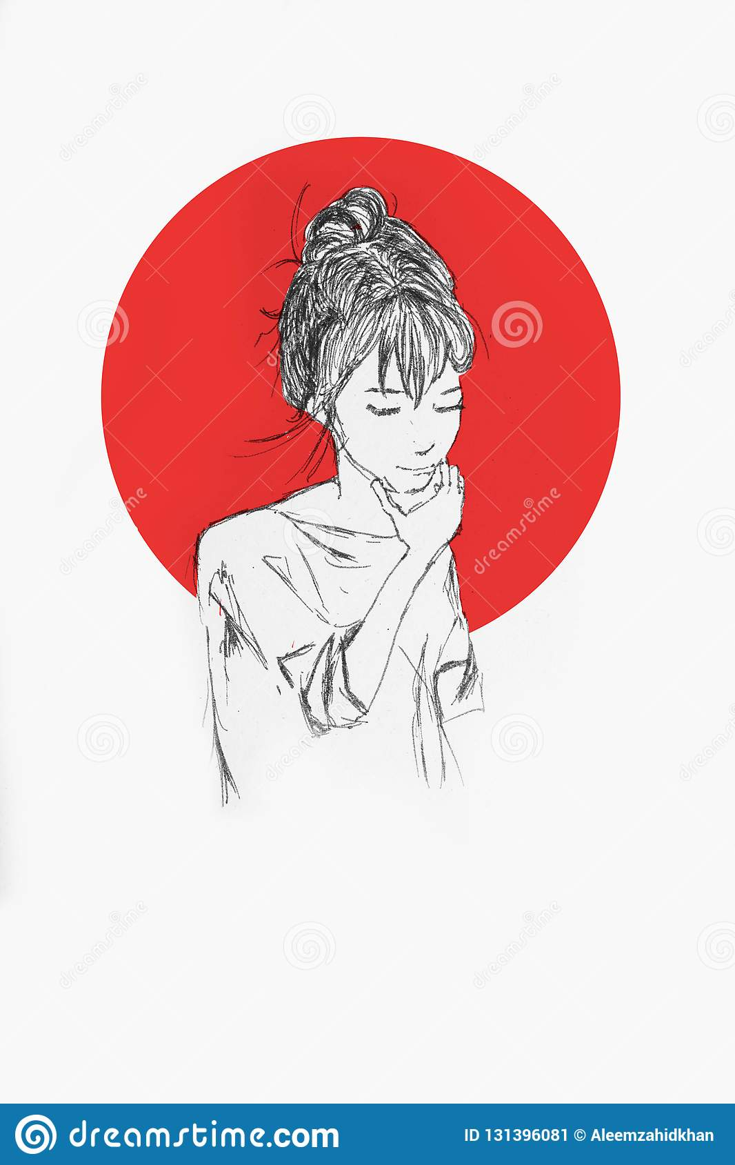 Hand drawn beautiful girl portrait pencil sketch of an anime girl with red circle on the background