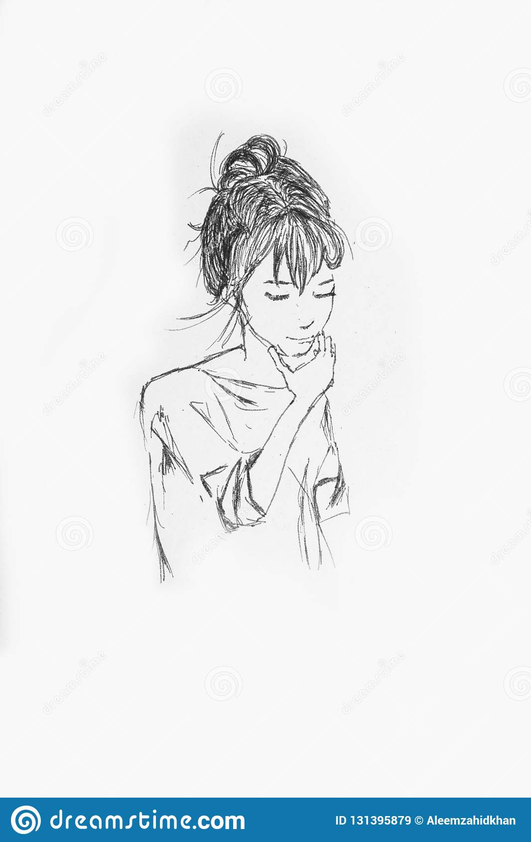 Beautiful girl portrait pencil sketch of an anime girl on