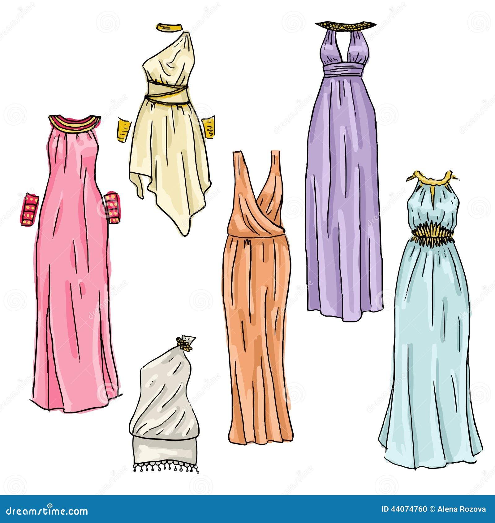 Assortment of hand drawn beautiful greek dresses.