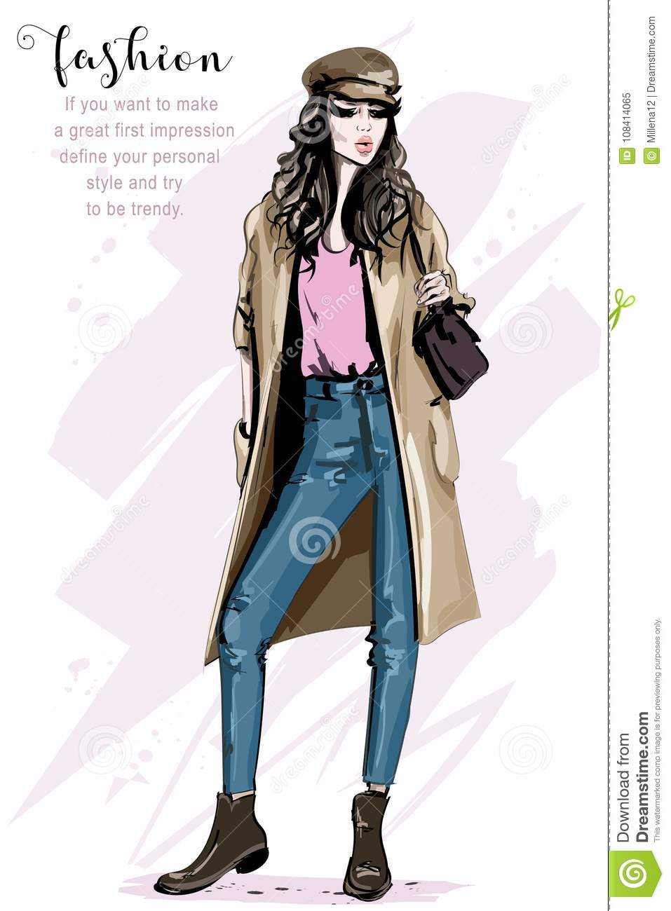 Hand Drawn Beautiful Woman In Fashion Clothes Stylish Lady Young Woman In Cap Fashion Model Posing