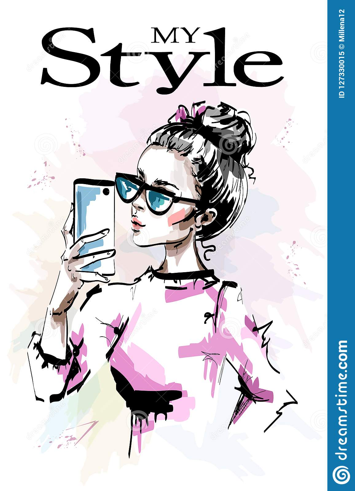 Hand drawn beautiful young with phone in her hand. Stylish elegant girl in sunglasses. Fashion woman making selfie.
