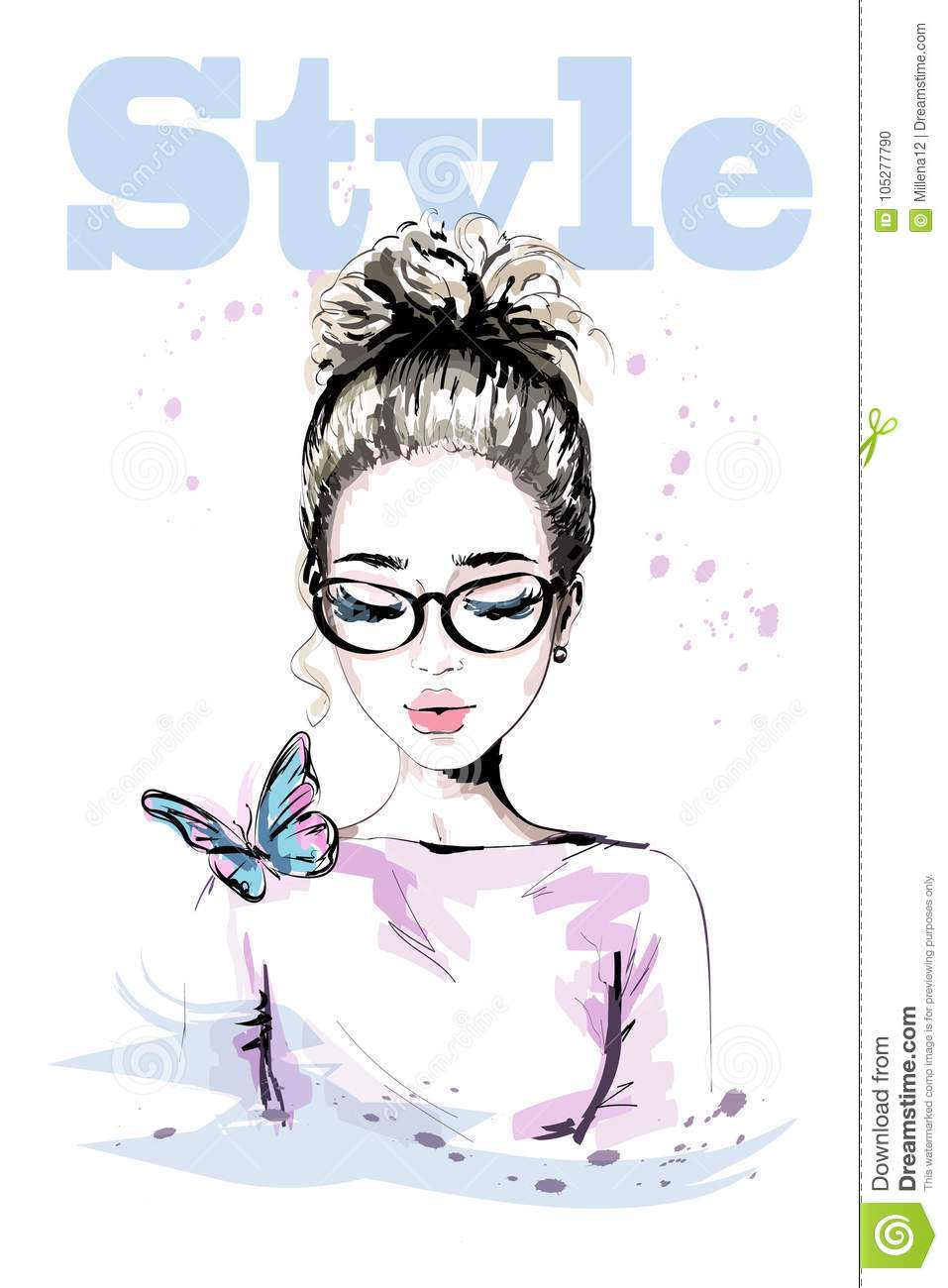 Hand drawn beautiful young woman with colorful butterfly. Fashion woman with stylish hairstyle. Cute girl in eyeglasses.