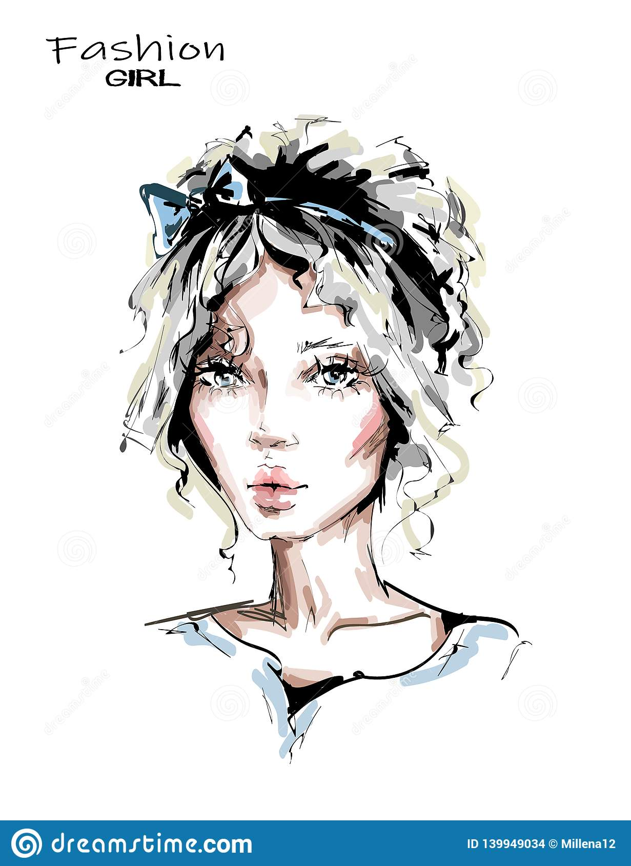 Hand drawn beautiful young woman with cute hairstyle. Stylish girl with bow in her blonde hair. Fashion woman look. Beautiful face