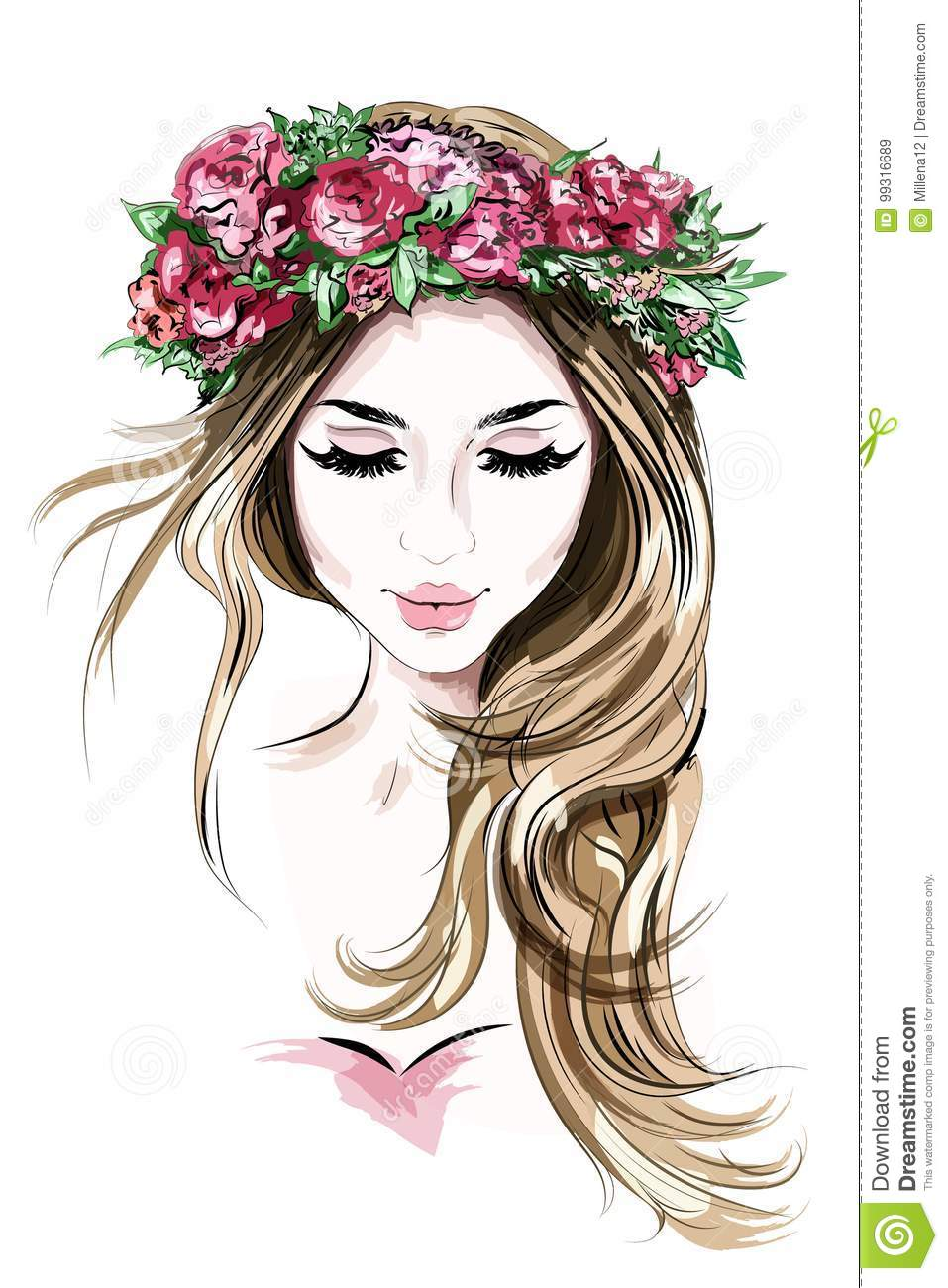 Hand drawn beautiful young woman in flower wreath cute girl with long hair sketch