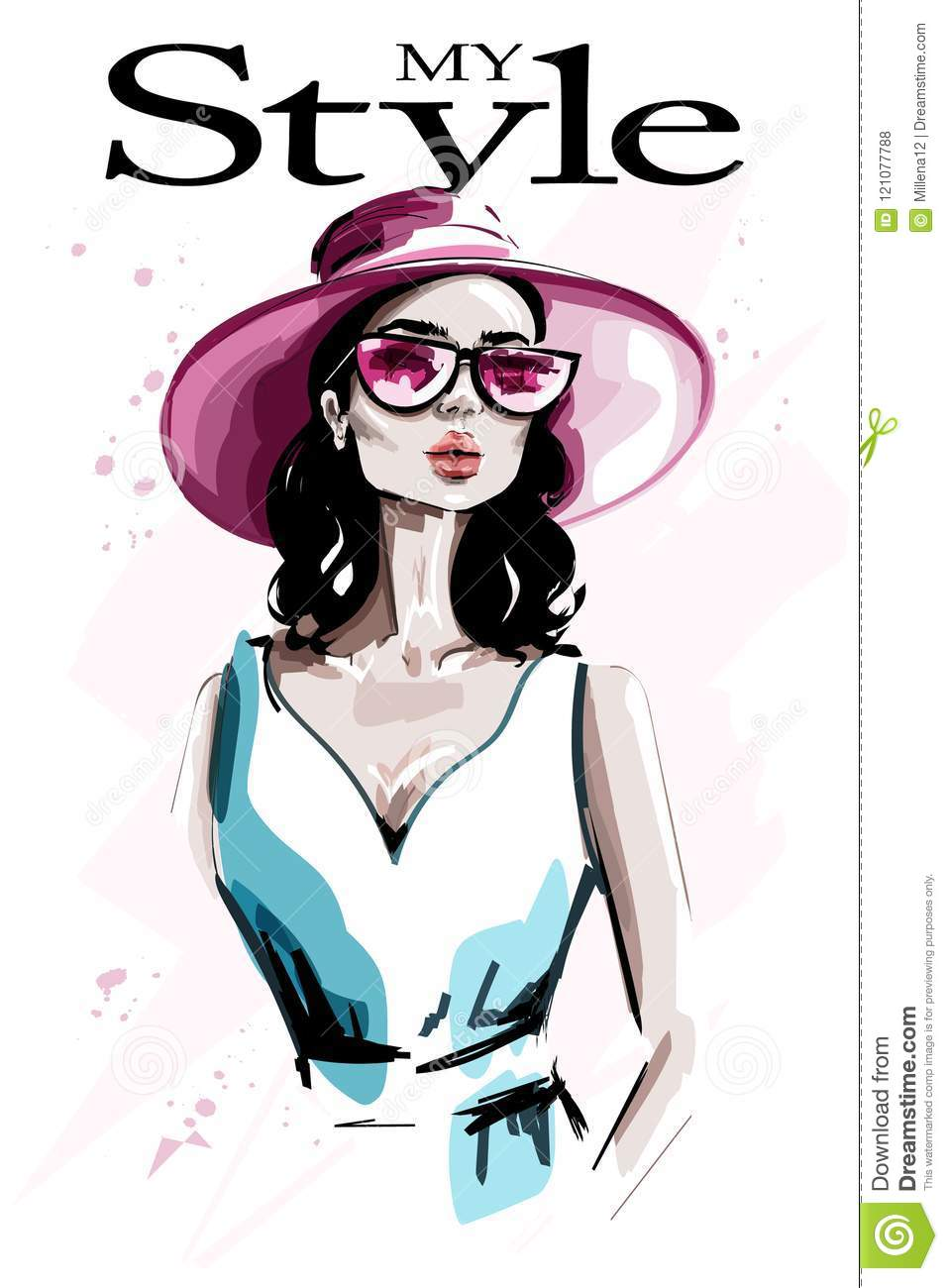 ca73b0ded25a Hand drawn beautiful young woman in hat. Fashion woman in sunglasses.  Stylish lady.