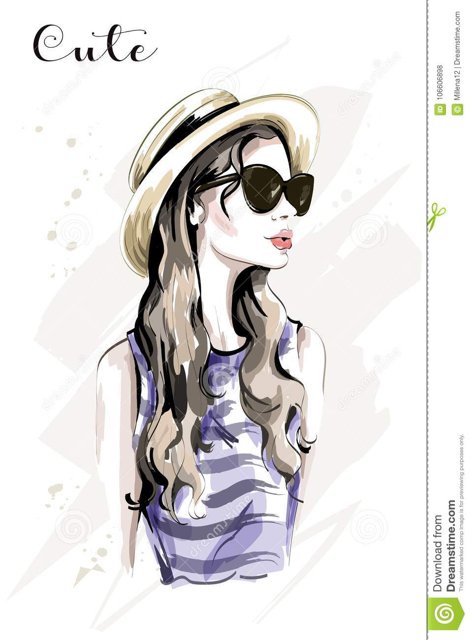 Hand Drawn Beautiful Young Woman In Hat. Fashion Woman In ...