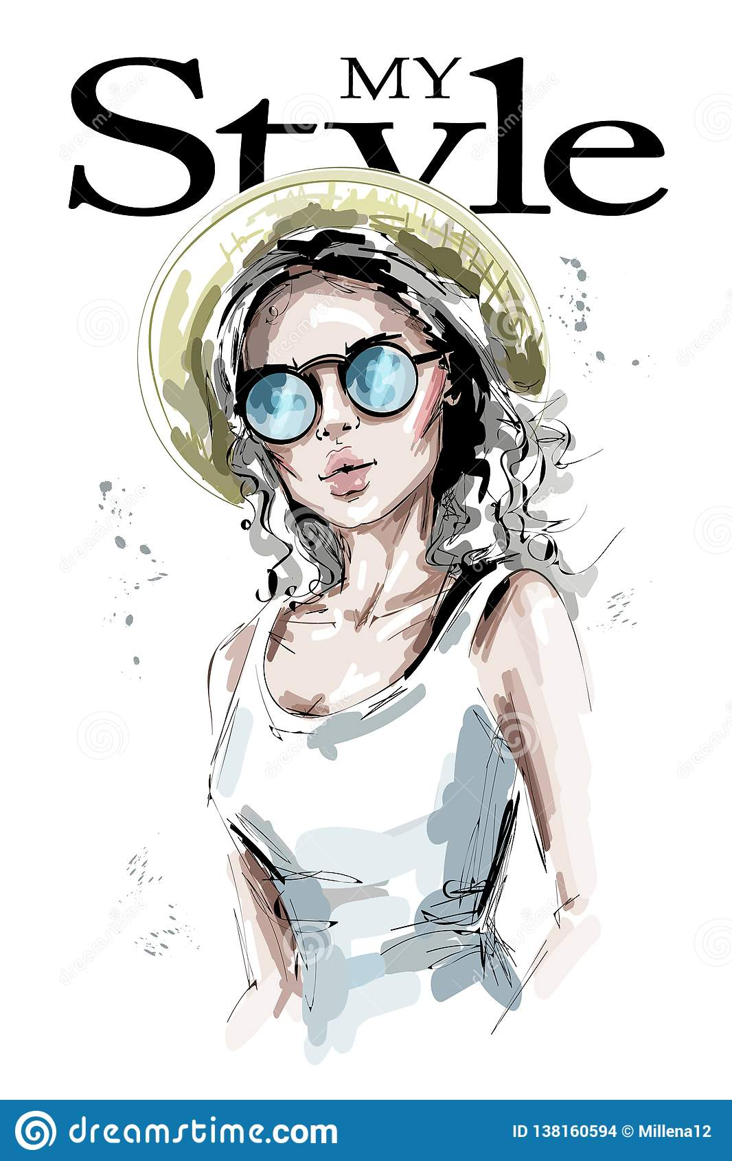 Hand drawn beautiful young woman in hat. Stylish blonde hair girl in sunglasses. Fashion woman look.