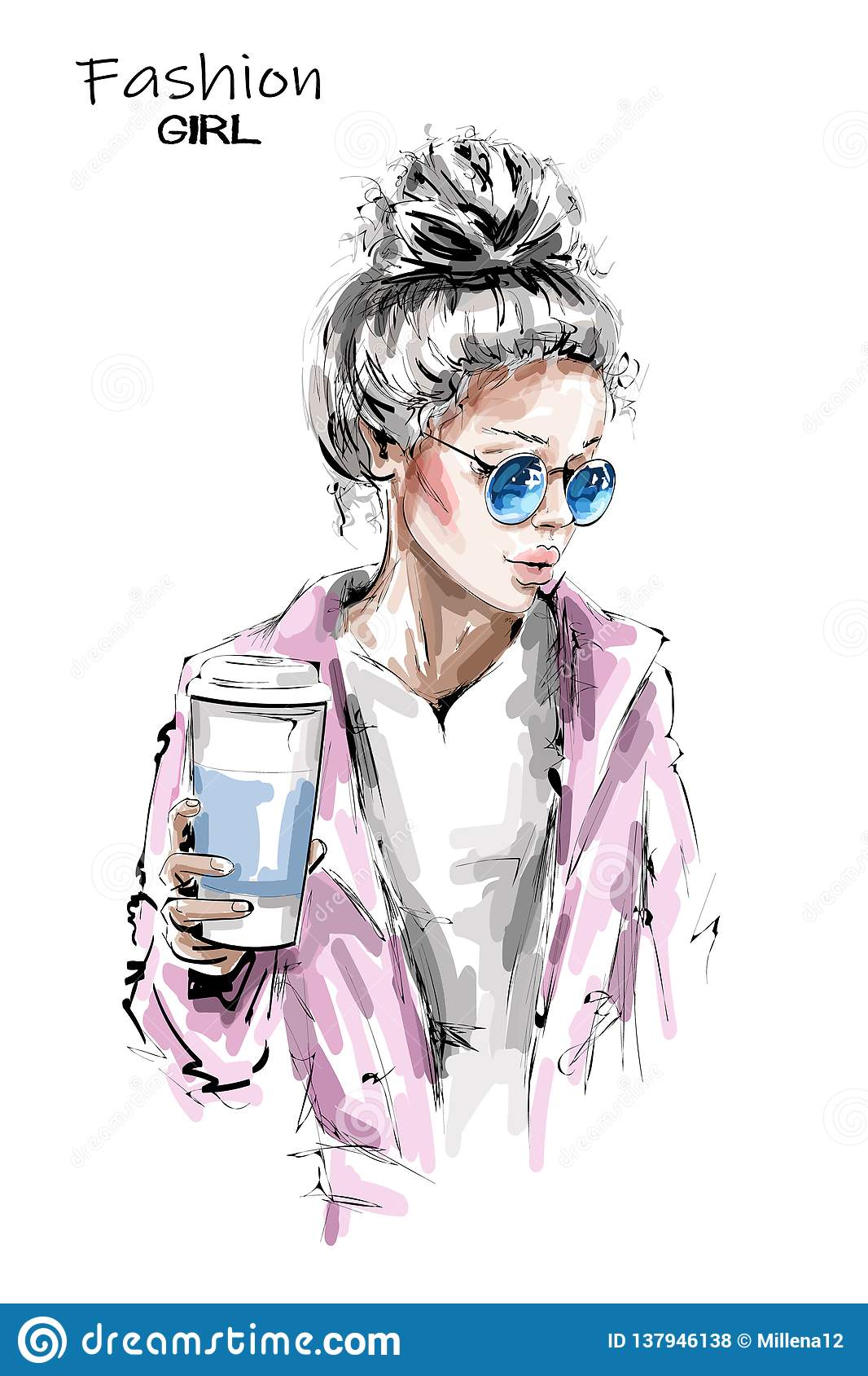 Hand drawn beautiful young woman holding plastic coffee cup. Stylish blonde hair girl. Fashion woman look.