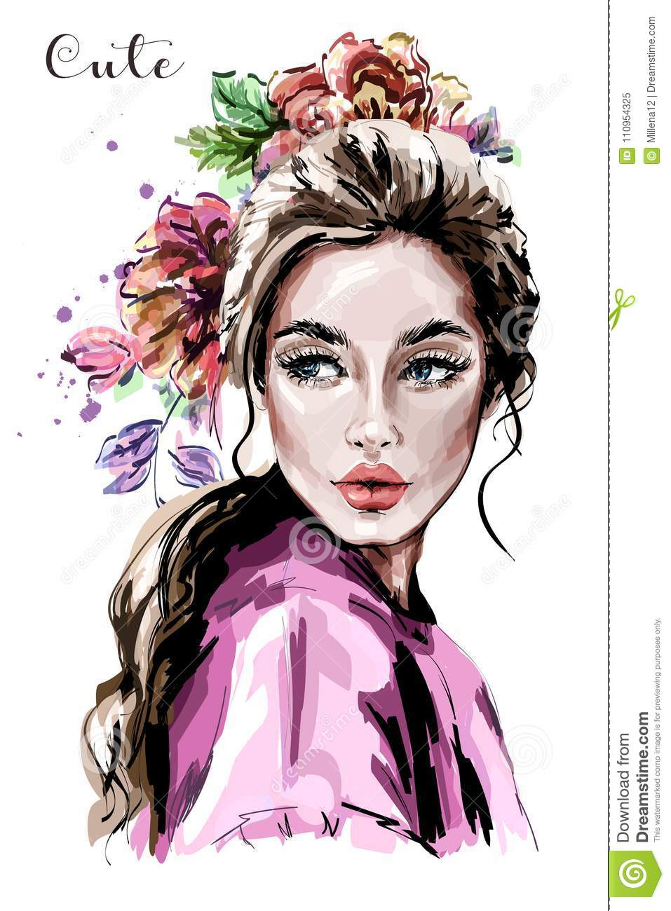 Hand drawn beautiful young woman portrait fashion woman cute girl with flowers